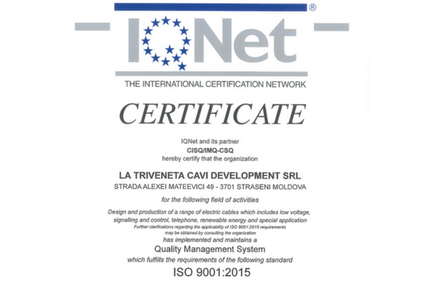 certification de qualità ISO 9001:2015 usine Moldavie