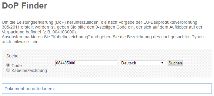 Beispiel Online DoP Finder um die DoP herunterzuladen