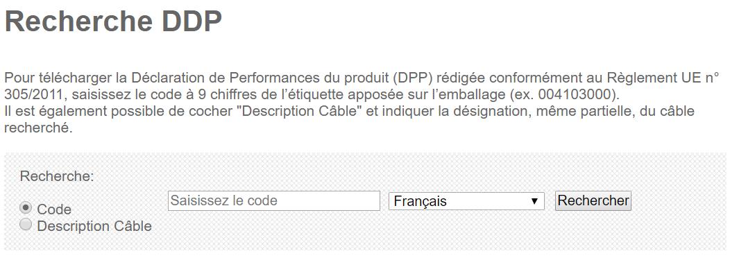 Exemple de recherche DPP DoP Finder