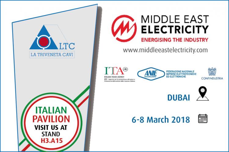 La Triveneta Cavi will take part at the Middle East Electricity  | Dubai, 6th-8th March 2018
